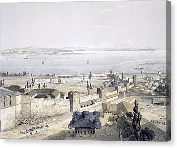 View Of The Bosphorus From The Mosque Canvas Print by Gaspard Fossati