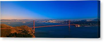 View Of The Golden Gate Bridge And City Canvas Print by Panoramic Images