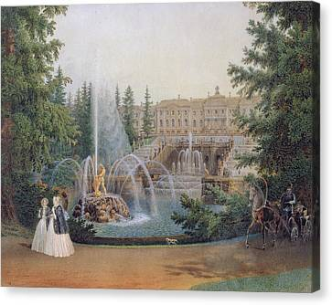 View Of The Marly Cascade From The Lower Garden Of The Peterhof Palace Canvas Print by Vasili Semenovich Sadovnikov