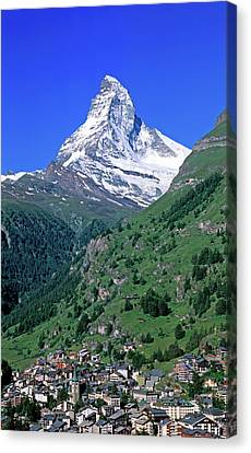 View Of The Matterhorn And The Town Canvas Print by Panoramic Images