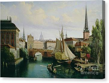 View Of The Riddarholmskanalen Canvas Print by Gustav Palm