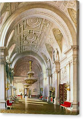 View Of The White Hall In The Winter Palace In St. Petersburg, 1865 Wc On Paper Canvas Print by Luigi Premazzi
