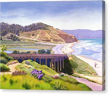 View Of Torrey Pines Canvas Print by Mary Helmreich
