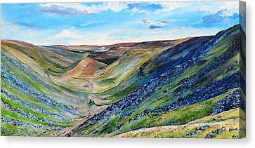 View Of Troutbeck From Stony Cove Pike The Lake District Canvas Print by Robina Osbourne