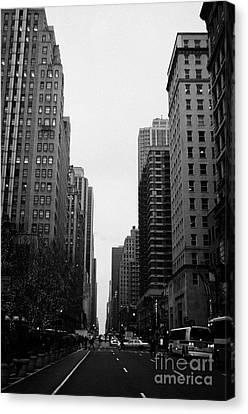 View Up 6th Ave Avenue Of The Americas From Herald Square In The Evening New York City Winter Canvas Print by Joe Fox
