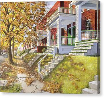 View Up The Block Canvas Print by Edward Farber