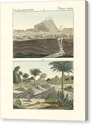 Views Of Some Volcanoes In The Kingdom Of New Spain In America Canvas Print by Splendid Art Prints