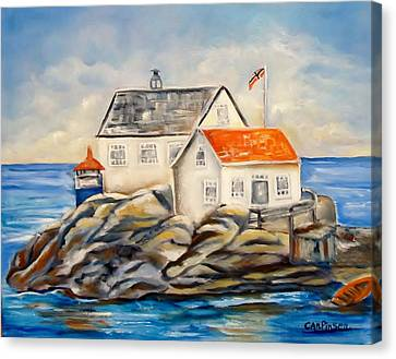 Vikeholmen Lighthouse II Canvas Print by Carol Allen Anfinsen