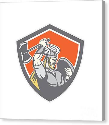Viking Raider Barbarian Warrior Axe Shield Canvas Print by Aloysius Patrimonio