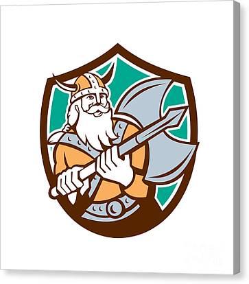 Viking Raider Barbarian Warrior Axe Shield Retro Canvas Print by Aloysius Patrimonio