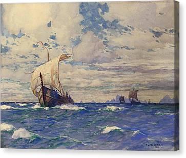 Viking Ships At Sea Canvas Print by Pg Reproductions