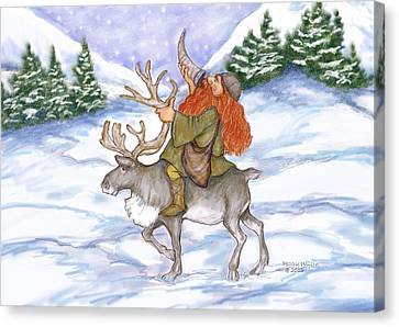 Viking With Reindeer Canvas Print by Peggy Wilson