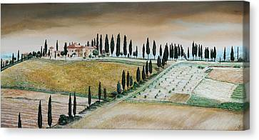 Villa On Hill, Tuscany, 2001 Oil On Canvas Canvas Print by Trevor Neal