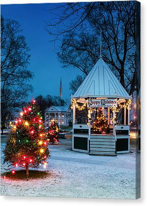Village Green Holiday Greetings- New Milford Ct - Canvas Print by Thomas Schoeller