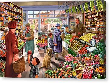 Village Greengrocer  Canvas Print by Steve Crisp