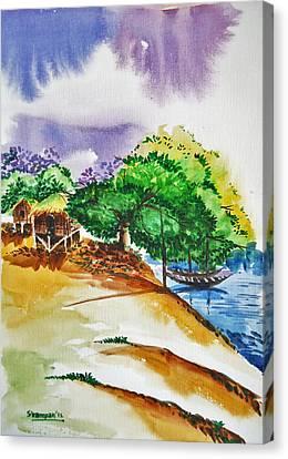 Village Landscape Of Bangladesh 3 Canvas Print by Shakhenabat Kasana