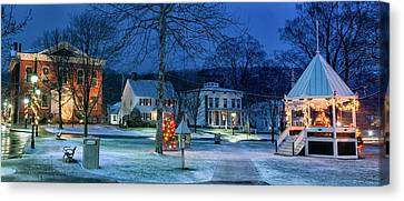 Village Of New Milford - Winter Panoramic Canvas Print by Thomas Schoeller