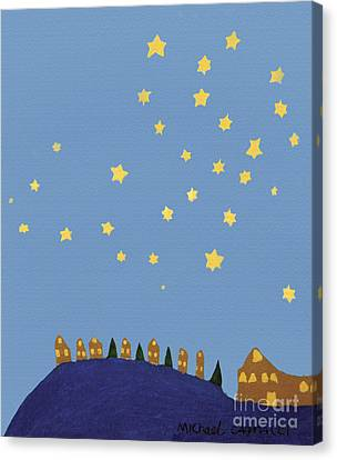 Village Starry Night Canvas Print by Michael Cagnacci