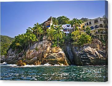 Villas On Rocks Canvas Print by Elena Elisseeva