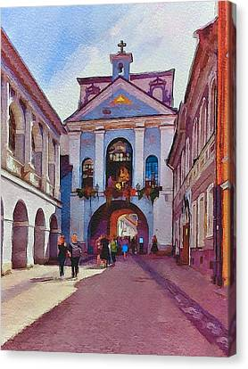 Vilnius Old Town Golden Gate 1 Canvas Print by Yury Malkov