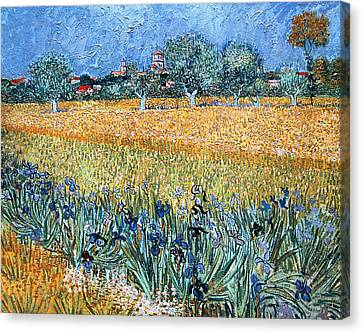 Field With Flowers Near Arles Canvas Print by Vincent van Gogh