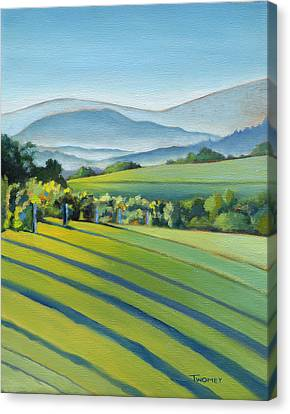 Vineyard Blue Ridge On Buck Mountain Road Virginia Canvas Print by Catherine Twomey