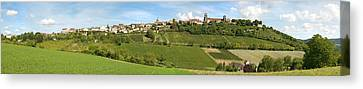 Vineyards With The Town On A Hill Canvas Print by Panoramic Images