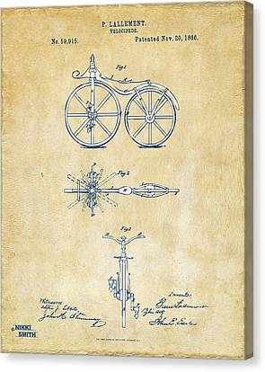 Vintage 1866 Velocipede Bicycle Patent Artwork Canvas Print by Nikki Marie Smith