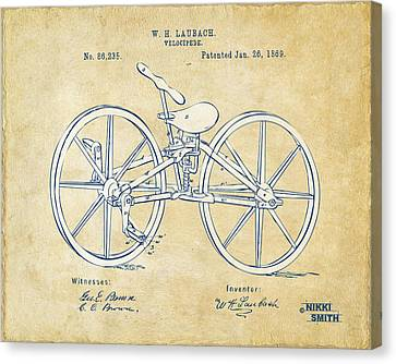 Vintage 1869 Velocipede Bicycle Patent Artwork Canvas Print by Nikki Marie Smith