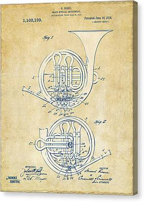 Vintage 1914 French Horn Patent Artwork Canvas Print by Nikki Marie Smith
