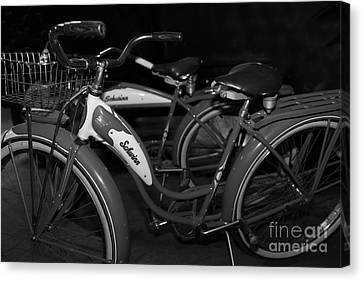 Vintage 1941 Boys And 1946 Girls Bicycle 5d25760 Black And White Canvas Print by Wingsdomain Art and Photography