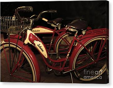 Vintage 1941 Boys And 1946 Girls Bicycle 5d25760 Sepia2 Canvas Print by Wingsdomain Art and Photography