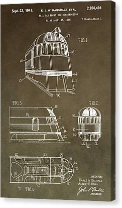 Vintage 1941 Train Patent Canvas Print by Dan Sproul