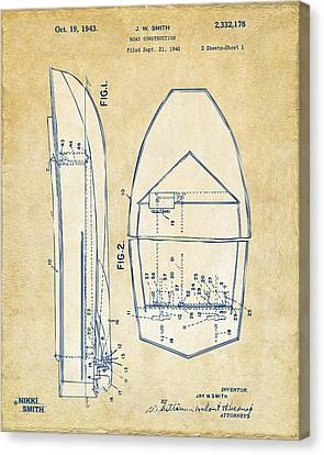 Vintage 1943 Chris Craft Boat Patent Artwork Canvas Print by Nikki Marie Smith