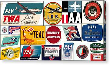 Vintage Airlines Logos Canvas Print by Don Struke