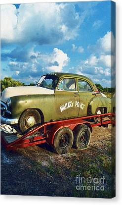 Vintage American Military Police Car Canvas Print by Kathy Fornal