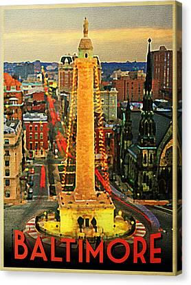 Vintage Baltimore At Dusk Canvas Print by Flo Karp