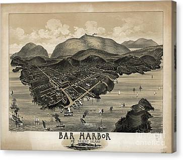 Vintage Bar Harbor Map Canvas Print by Edward Fielding