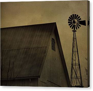 Vintage Barn And Windmill Canvas Print by Dan Sproul
