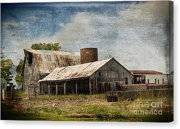 Barn -vintage Barn With Brick Silo - Luther Fine Art Canvas Print by Luther   Fine Art