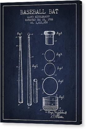 Vintage Baseball Bat Patent From 1926 Canvas Print by Aged Pixel