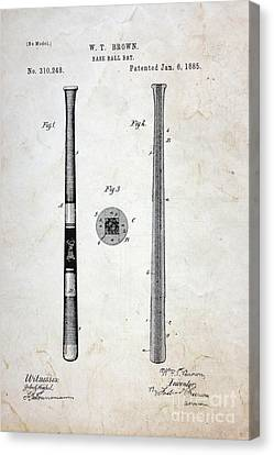 Vintage Baseball Bat Patent Canvas Print by Paul Ward
