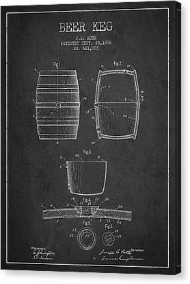 Vintage Beer Keg Patent Drawing From 1898 - Dark Canvas Print by Aged Pixel