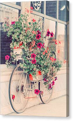 Vintage Bicycle Flowers Photograph Canvas Print by Elle Moss