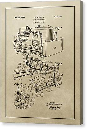 Vintage Bulldozer Patent Canvas Print by Dan Sproul
