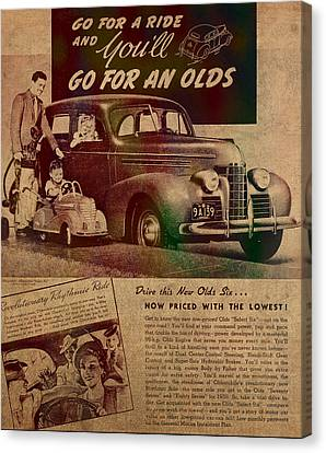 Vintage Car Advertisement 1939 Oldsmobile On Worn Faded Paper Canvas Print by Design Turnpike