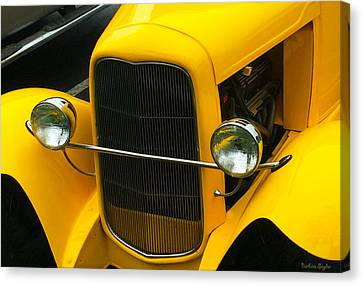Vintage Car Yellow Detail Canvas Print by Barbara Snyder