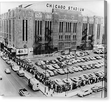 Vintage Chicago Stadium Print - Historical Blackhawks Black  White Canvas Print by Horsch Gallery