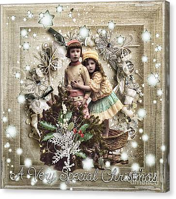Vintage Christmas Canvas Print by Mo T