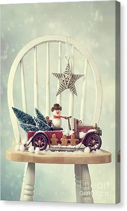 Vintage Christmas Truck Canvas Print by Amanda Elwell